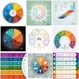 Set 9 templates Infographics cyclic processes six positions Stock Photography