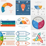 Set 9 templates Infographics cyclic processes.Three positions. Set 9 templates Infographics for business conceptual cyclic processes.Three positions for text royalty free illustration