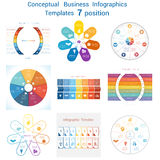 Set templates Infographics for seven positions text area. Set Vector templates Infographics business conceptual cyclic processes for seven positions text area Stock Image