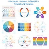 Set templates Infographics for six positions text area. Set templates Infographics business conceptual cyclic processes for six positions text area, possible to Royalty Free Stock Image