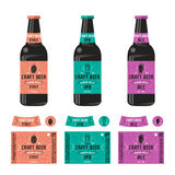 Set of templates label for craft beer. Print on color background and presentation on the bottle Stock Photography