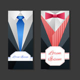 Set templates with men's suits and place for text Stock Image