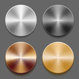 Set of templates metal button. Set of round templates of metal button with gold, aluminum, steel and bronze metal texture isolated on gray background Royalty Free Stock Photos