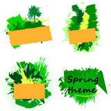 Set of templates in nature and spring theme. Web banners spring theme, green banners, mock-up banners vector illustration
