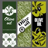 Set of templates for olive oil. Hand drawn illustrations. vector illustration