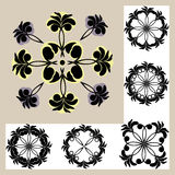 Set of templates with ornament. Black Stock Images