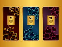 Set Templates for package from Luxury background made by geometric forms colorful. For cosmetic or perfume or for package of tea or for alcohol label or for royalty free illustration
