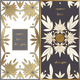 Set of templates for packaging. Vector set of design templates to create unique luxury product packaging, printed gold on white and black background. Natural Royalty Free Stock Photography