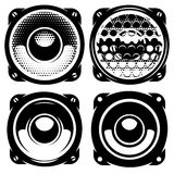 Set of templates for posters or badges with monochrome acoustic speakers Royalty Free Stock Images