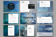 Set of 9 templates for presentation slides. Abstract blue polygonal background, colorful backdrop, modern stylish vector. Set of 9 vector templates for Stock Photography