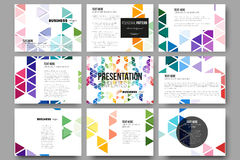 Set of 9 templates for presentation slides. Abstract colorful business background, modern stylish hexagonal and triangle Royalty Free Stock Images