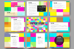 Set of 9 templates for presentation slides. Abstract colorful business background, modern stylish vector texture Royalty Free Stock Photography