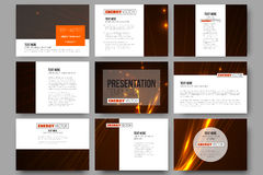 Set of 9 templates for presentation slides. Abstract lines background, dynamic glowing decoration, motion design, energy Stock Image
