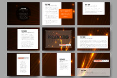 Set of 9 templates for presentation slides. Abstract lines background, dynamic glowing decoration, motion design, energy Royalty Free Stock Photography