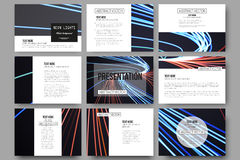 Set of 9 templates for presentation slides. Abstract lines background, motion design vector illustration Stock Image