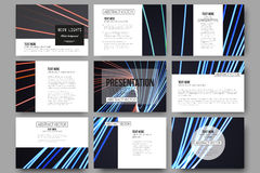 Set of 9 templates for presentation slides. Abstract lines background, motion design vector illustration Royalty Free Stock Photography