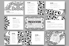 Set of 9  templates for presentation slides. Abstract microchip background, scientific electronic design Royalty Free Stock Photography