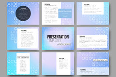 Set of 9 templates for presentation slides. Abstract white circles on light blue background, vector illustration. Set of 9 vector templates for presentation Royalty Free Stock Photos