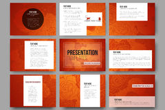 Set of 9 templates for presentation slides. Chinese new year background. Floral design with red monkeys, vector. Set of 9 vector templates for presentation royalty free illustration