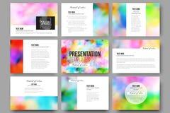Set of 9 templates for presentation slides. Colorful background, Holi celebration, vector illustration Royalty Free Stock Photos