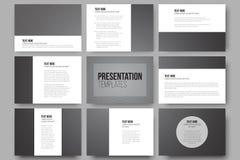 Set of 9 templates for presentation slides. Dark Royalty Free Stock Photography