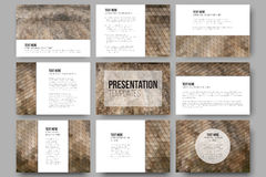 Set of 9 templates for presentation slides. Dry straw texture. Abstract multicolored backgrounds. Geometrical patterns. Triangular Royalty Free Stock Photo
