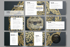 Set of 9 templates for presentation slides. Golden microchip pattern on dark background with connecting dots and lines Royalty Free Stock Photos