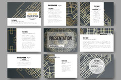 Set of 9 templates for presentation slides. Golden technology pattern on dark background with connecting lines and dots Stock Photo
