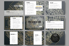 Set of 9 templates for presentation slides. Golden technology pattern on dark background  Stock Photography