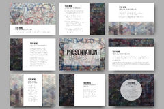 Set of 9 templates for presentation slides. Graffiti wall. Collection of abstract multicolored backgrounds. Geometrical patterns. Triangular and hexagonal stock illustration