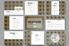 Set of 9 templates for presentation slides. Islamic gold pattern with overlapping geometric square shapes forming Stock Photos