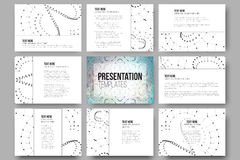 Set of 9 templates for presentation slides. Molecular structure design, blue scientific  background Royalty Free Stock Photos