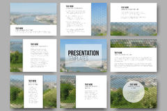 Set of 9 templates for presentation slides. Nature Stock Photography