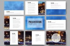 Set of 9 templates for presentation slides.  Stock Images