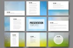 Set of 9 templates for presentation slides Royalty Free Stock Photos