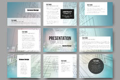 Set of 9 templates for presentation slides Royalty Free Stock Image