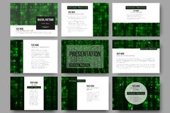 Set of 9 templates for presentation slides. Virtual reality, abstract technology background with green symbols, vector Royalty Free Stock Photography