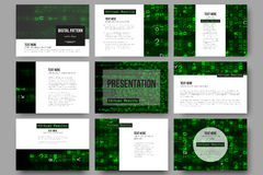 Set of 9 templates for presentation slides. Virtual reality, abstract technology background with green symbols, vector Royalty Free Stock Image