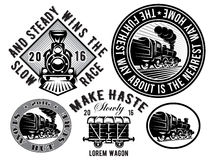 Set of templates with retro locomotive, wagon, vintage train, logotype, illustration to topic railroad Royalty Free Stock Image