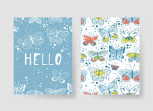 Set of templates for summer cards. Hand drawn vector patterns brochures with butterfly. Actual artistic design flyers Vector Illustration