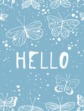 Set of templates for summer cards. Hand drawn vector patterns brochures with butterfly. Actual artistic design flyers Royalty Free Illustration