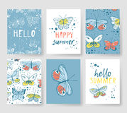 Set of templates for summer cards. Hand drawn vector patterns brochures with butterfly. Actual artistic design flyers Stock Illustration