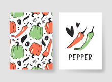 Set of templates for summer cards. Hand drawn vector patterns brochures with veggies. Actual artistic design vegetables Royalty Free Stock Photos