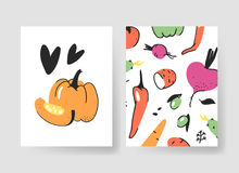 Set of templates for summer cards. Hand drawn vector patterns brochures with veggies. Actual artistic design vegetables Stock Photos