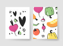 Set of templates for summer cards. Hand drawn vector patterns brochures with veggies. Actual artistic design vegetables Stock Photo