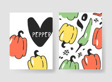 Set of templates for summer cards. Hand drawn vector patterns brochures with veggies. Actual artistic design vegetables Royalty Free Stock Images