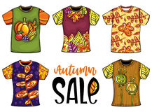 Set of templates t-shirts for men and woman with autumn design. Set of vector colorful templates t-shirts for men and woman with autumn design. Fall leaves Royalty Free Stock Photos