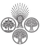 Set of templates with trees for Badges, stamps, logos Royalty Free Stock Images
