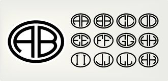 Set 1 of templates from two capital letters inscribed in a oval. From wide lines of the same thickness. To create logos Stock Photos