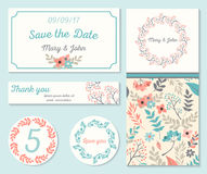 Set of templates for wedding, celebration. Invitation card with abstract floral background. Vector illustration royalty free stock photos